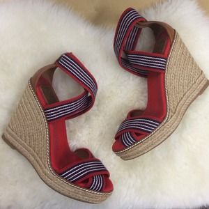 Tory Burch Shoes - Tory burch striped wedge espadrilles