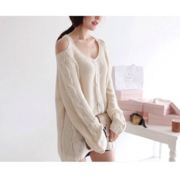 ❌SOLD❌Cream Cold Shoulder Oversized Knit Sweater OS from Ruth's ...