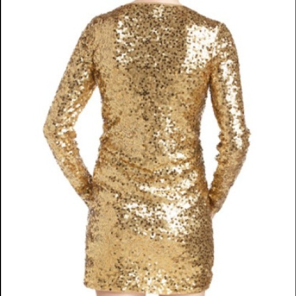MICHAEL Michael Kors - Gold sequin Long sleeve Michael Kors dress ...