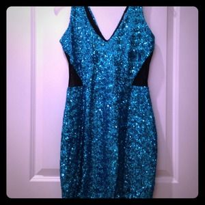 Bebe Teal Sequins and sheer Cut out
