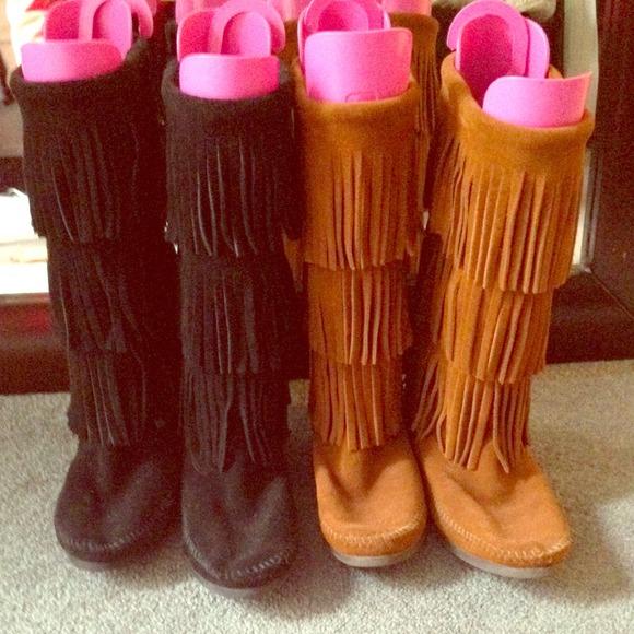 44% off Minnetonka Boots - Minnetonka 3 layer fringe boots black ...