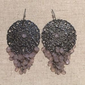Bauble Bar silver filigree earrings