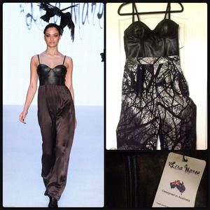 LISA MAREE 💣 Bustier Jumpsuit 💯Napa leather/silk