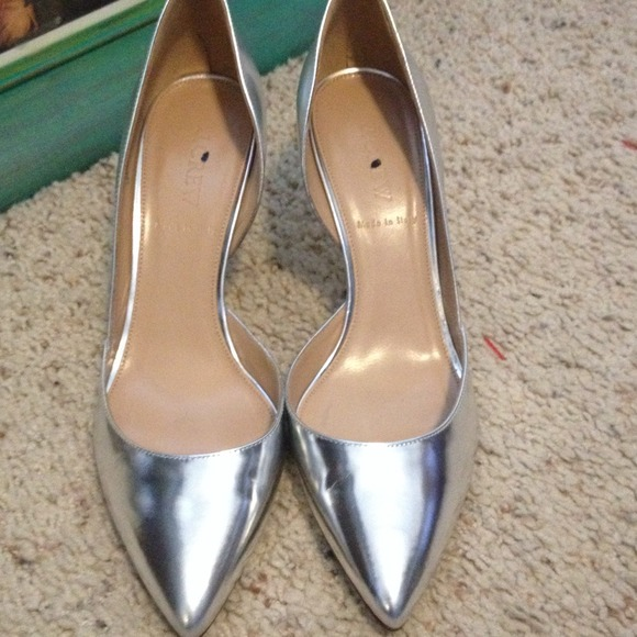 81% off J. Crew Shoes - J.Crew mirror everly heels, silver from ...