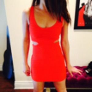 REDUCED Orange Red Cut Out Bebe Bodicon Dress
