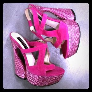 Chinese Laundry Shoes - hot pink rhinestone shoes