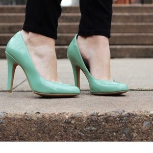 Mint colored pumps