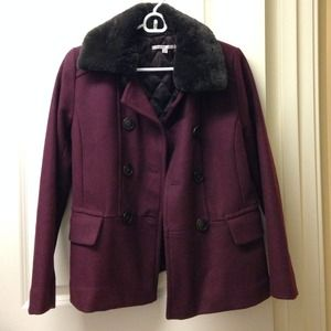 Faux Fur Collar Wool Coat