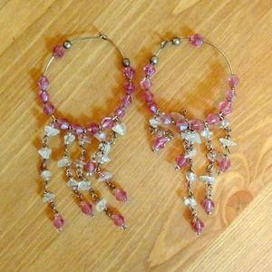 Jewelry - Pink hoop earrings