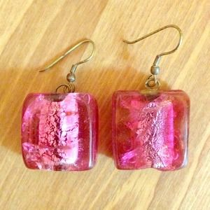 Jewelry - Pink square stone earrings