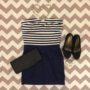 HOST PICK Sweetheart Striped Navy Blue Dress
