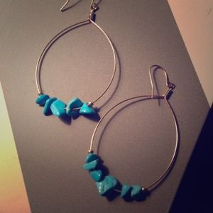 Gold Hoops with Turquoise Stones