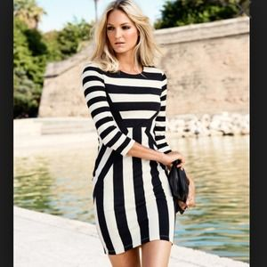 H&M black and white stripe dress