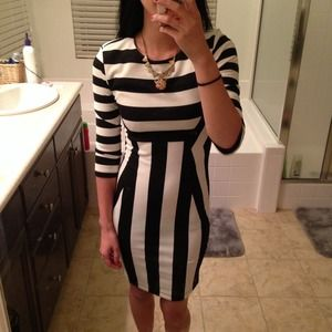 H&M Dresses - H&M black and white stripe dress