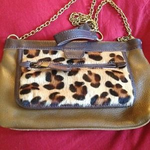 Brand new leopard j crew chain purse . Cross body
