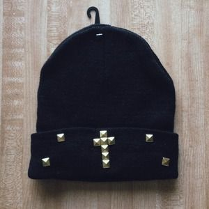 SOLD Black/ Gold Studded Knit Beanie