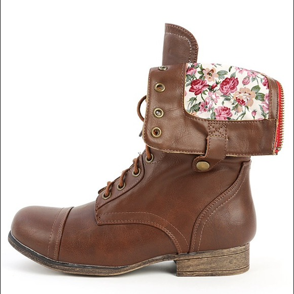 22% off Bamboo Boots - Brown lace-up combat boots with floral ...
