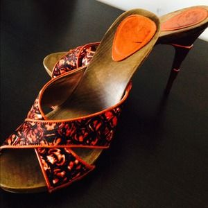 Just Cavalli orange strappy sandals pumps hot!!!