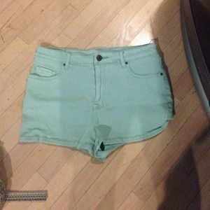 Turquoise high waisted shorts