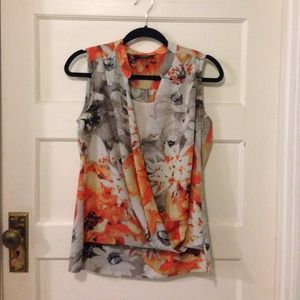 Alfani Tops - Vibrant orange, grey, white & black Alfani blouse