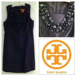 Tory Burch black silk dress with beaded neckline
