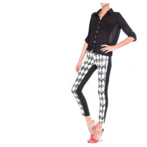 Denim - B&W Diamond Print & Colour Block Skinny Jeans