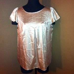 MNG by Mango Tops - MNG by Mango Gold Satin Blouse Sz 10