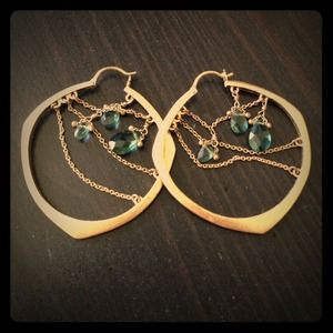 Lucky hoops with teal rhinestones