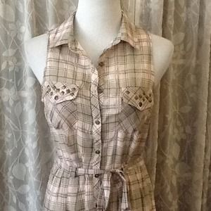 NWT plaid shirt dress with studded pockets