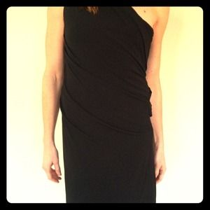 Haute Hippie one shoulder black dress