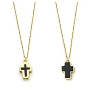 Black & Gold Reversible Cross Necklace