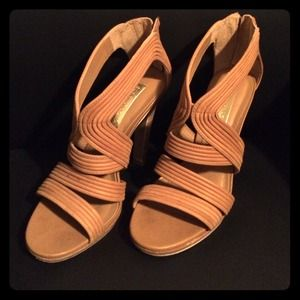 BCBG strappy sandals in camel.