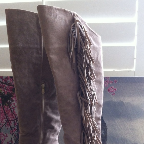 40% off Boots - Tall Wedge Fringe Boots from Dazzle•fit•chic's ...
