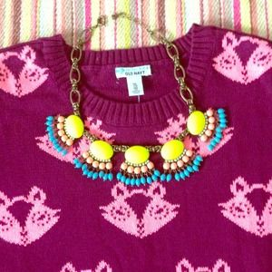 Jewelry - NWOT fan-fringe statement necklace