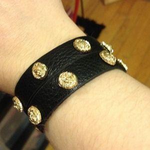 Jewelry - Black leather twist bracelet with lion face new!!