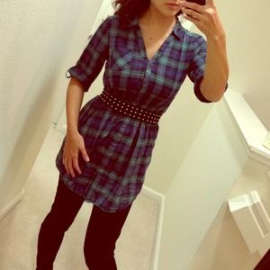 Plaid boyfriend style tunic dress