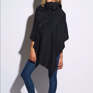 Asymmetric Hooded Cape