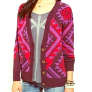 Urban Outfitters Sweaters - Reduced!!! Maroon Aztec intarsia cutout cardi