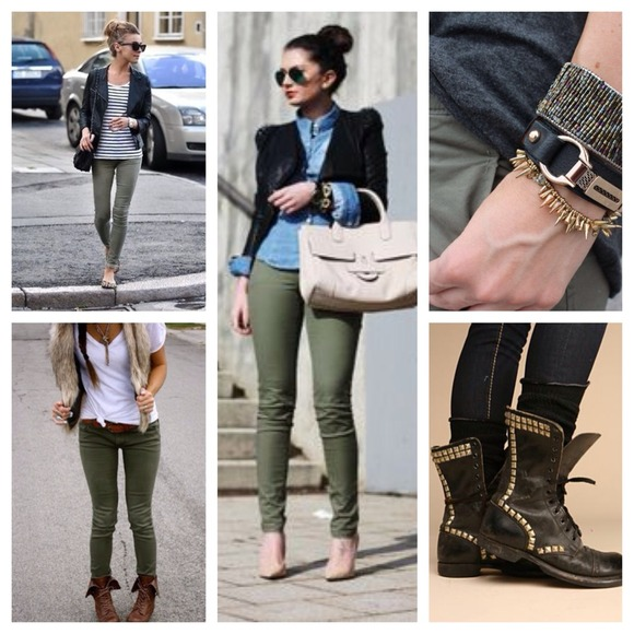 H&m Pants Army/olive Green