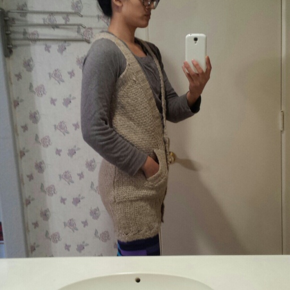 Free People Sweaters - Free People crochet knit camel sweater boho vest S