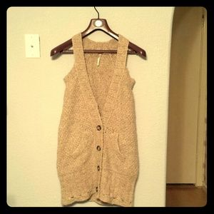 Free People crochet knit camel sweater boho vest S