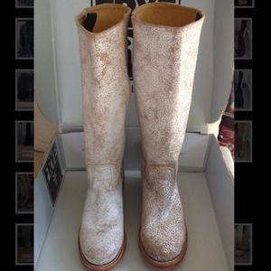 Frye Boots - New Frye White Crackled Campus Boots