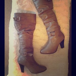 Shoes - TAUPE SLOUCHY BOOTS