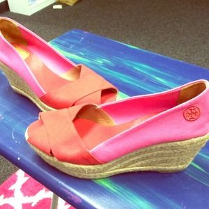 Red and Pink Tory Burch Espadrille Wedges