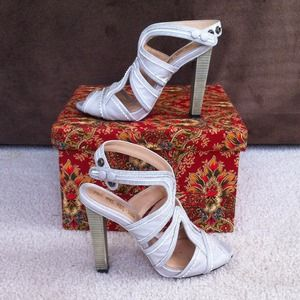 L.A.M.B Taupe Leather Gladiator Style Heels
