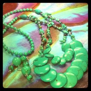 467. Howlite and Turquoise necklace/earring set