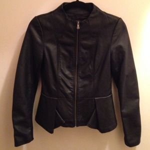 Size Small fitted Peplum Faux Leather Jacket