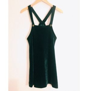 ❌🚫SOLD🚫❌green velvet pinafore overall