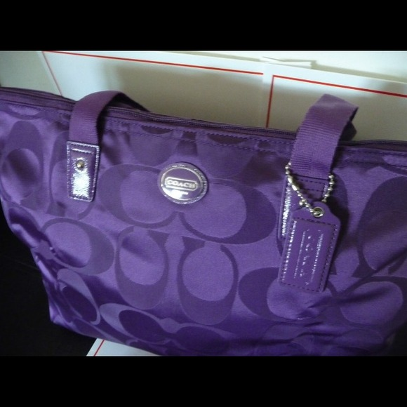 Coach Bags - Sold Coach bag. Purple packable tote u0026 matching