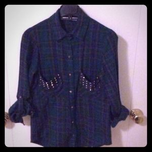 Plaid shirt with studs